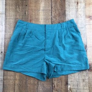 H&M Divided Green Cuffed & Pleated Front Shorts